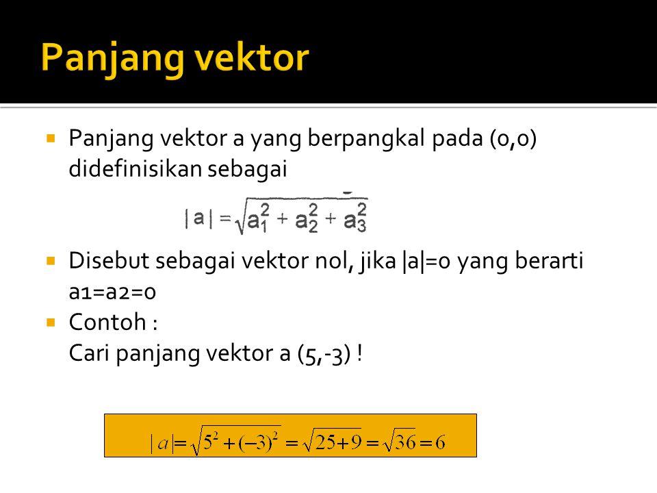  Panjang vektor a yang berpangkal pada (0,0) didefinisikan sebagai  Disebut sebagai vektor nol, jika |a|=0 yang berarti a1=a2=0  Contoh : Cari panj