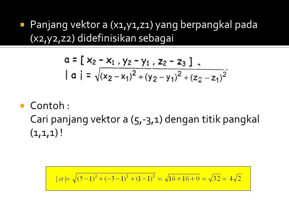  Panjang vektor a (x1,y1,z1) yang berpangkal pada (x2,y2,z2) didefinisikan sebagai  Contoh : Cari panjang vektor a (5,-3,1) dengan titik pangkal (1,