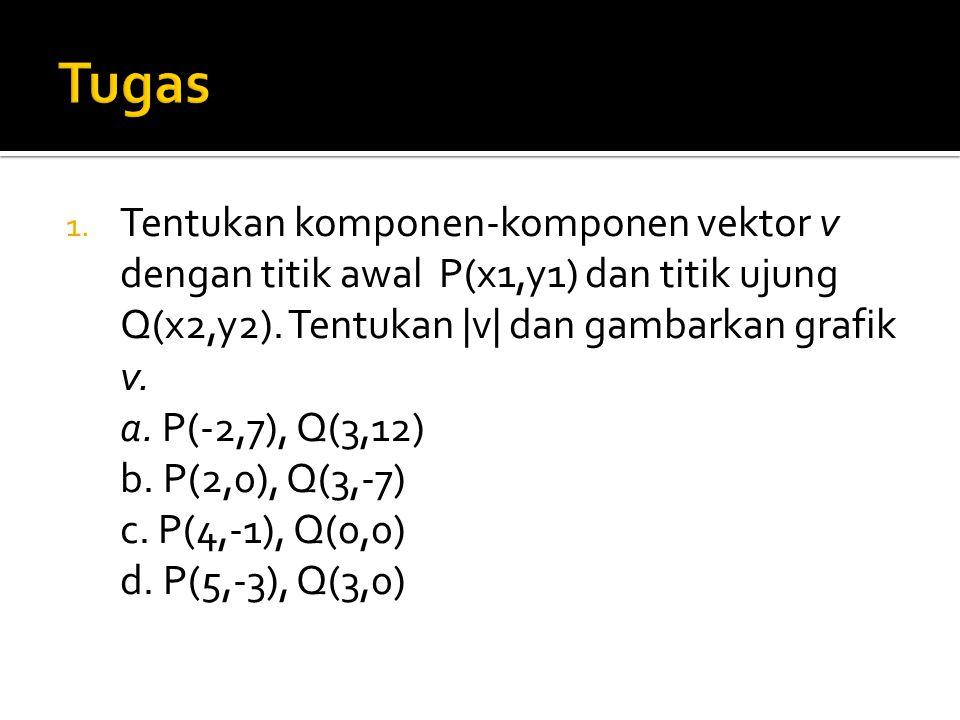 1. Tentukan komponen-komponen vektor v dengan titik awal P(x1,y1) dan titik ujung Q(x2,y2). Tentukan |v| dan gambarkan grafik v. a. P(-2,7), Q(3,12) b