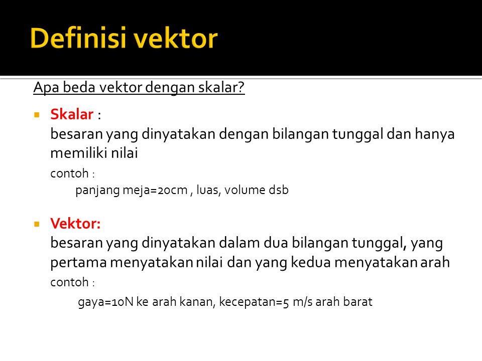 Apa beda vektor dengan skalar?  Skalar : besaran yang dinyatakan dengan bilangan tunggal dan hanya memiliki nilai contoh : panjang meja=20cm, luas, v