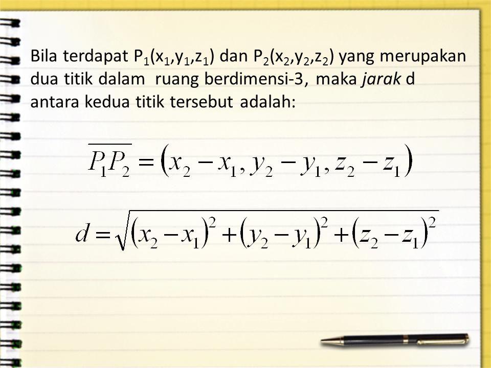 Bila terdapat P 1 (x 1,y 1,z 1 ) dan P 2 (x 2,y 2,z 2 ) yang merupakan dua titik dalam ruang berdimensi-3, maka jarak d antara kedua titik tersebut ad