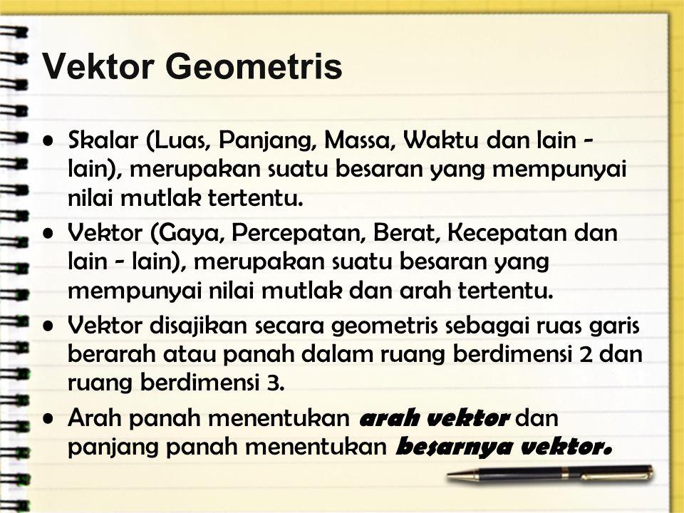 Vektor Geometris Skalar (Luas, Panjang, Massa, Waktu dan lain - lain), merupakan suatu besaran yang mempunyai nilai mutlak tertentu. Vektor (Gaya, Per
