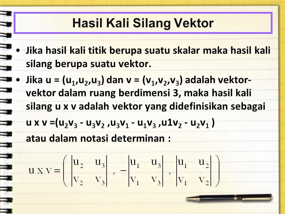 Hasil Kali Silang Vektor Jika hasil kali titik berupa suatu skalar maka hasil kali silang berupa suatu vektor. Jika u = (u 1,u 2,u 3 ) dan v = (v 1,v