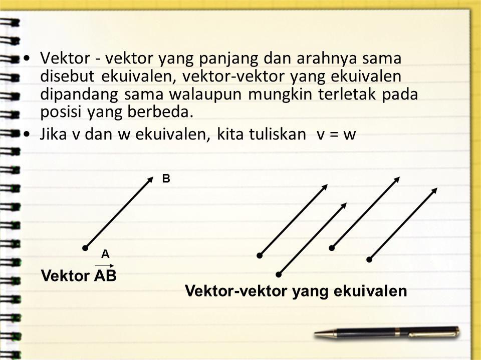 Vektor - vektor yang panjang dan arahnya sama disebut ekuivalen, vektor-vektor yang ekuivalen dipandang sama walaupun mungkin terletak pada posisi yan