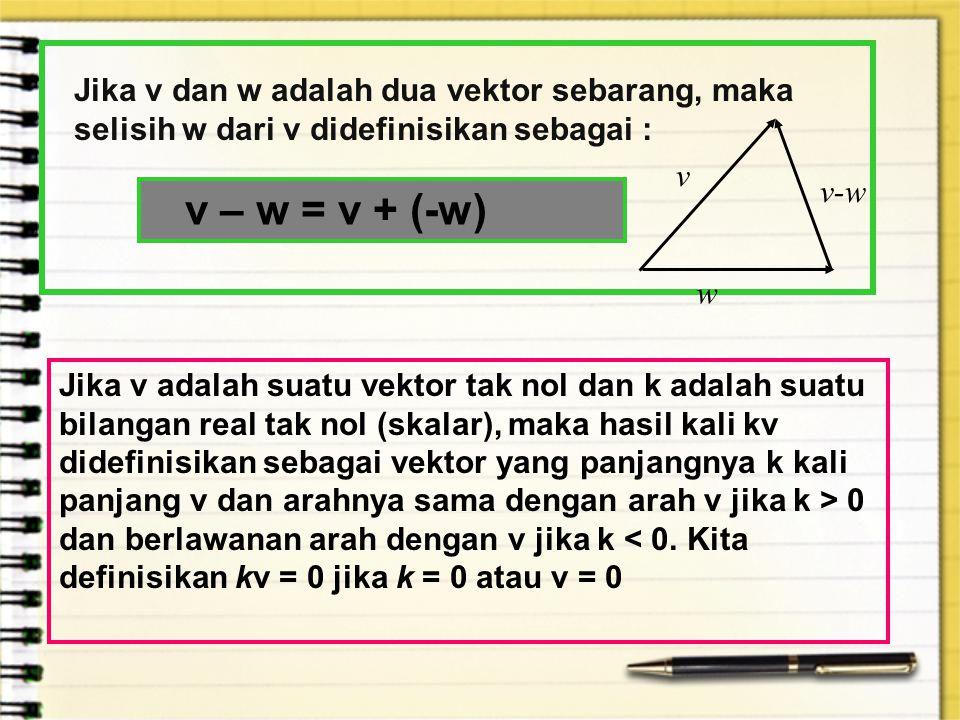 Jika v dan w adalah dua vektor sebarang, maka selisih w dari v didefinisikan sebagai : v – w = v + (-w) Jika v adalah suatu vektor tak nol dan k adala