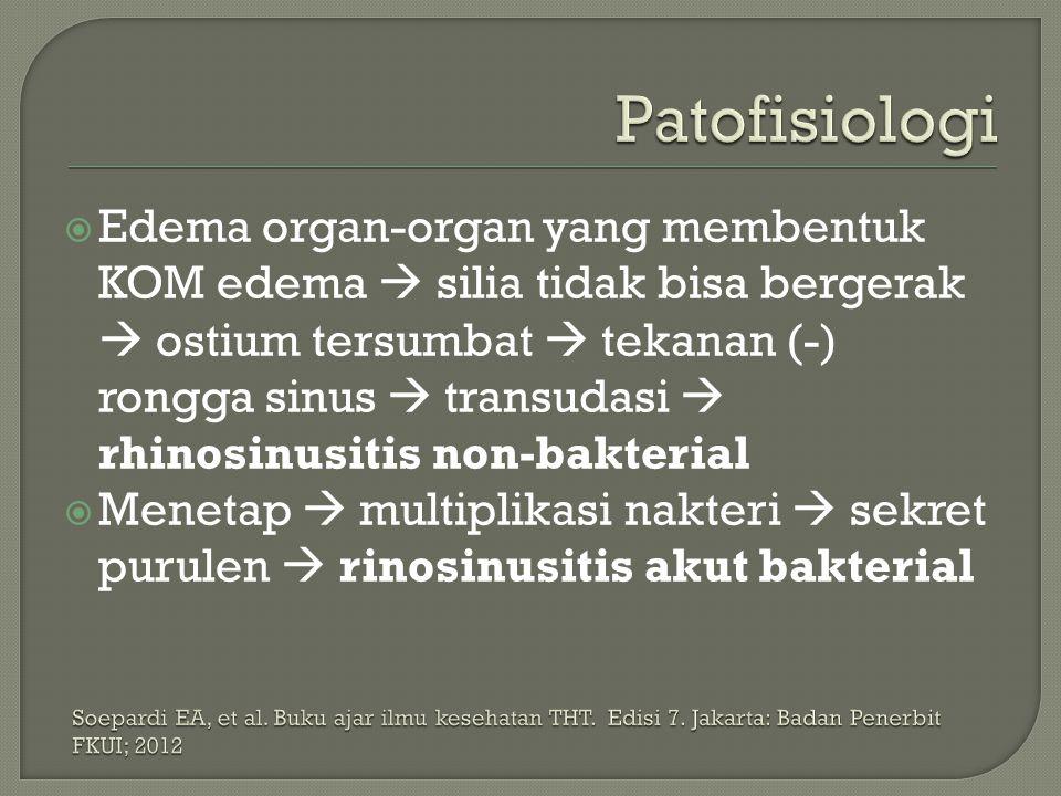  Edema organ-organ yang membentuk KOM edema  silia tidak bisa bergerak  ostium tersumbat  tekanan (-) rongga sinus  transudasi  rhinosinusitis n
