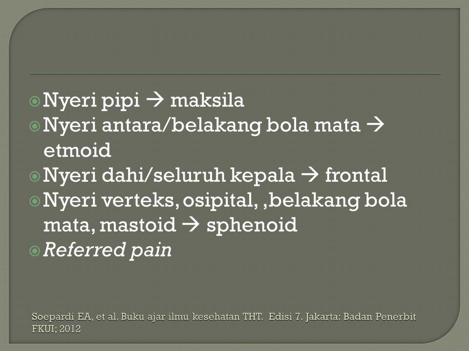  Nyeri pipi  maksila  Nyeri antara/belakang bola mata  etmoid  Nyeri dahi/seluruh kepala  frontal  Nyeri verteks, osipital,,belakang bola mata,