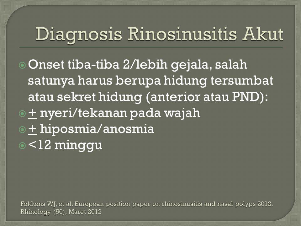  Onset tiba-tiba 2/lebih gejala, salah satunya harus berupa hidung tersumbat atau sekret hidung (anterior atau PND):  + nyeri/tekanan pada wajah  +