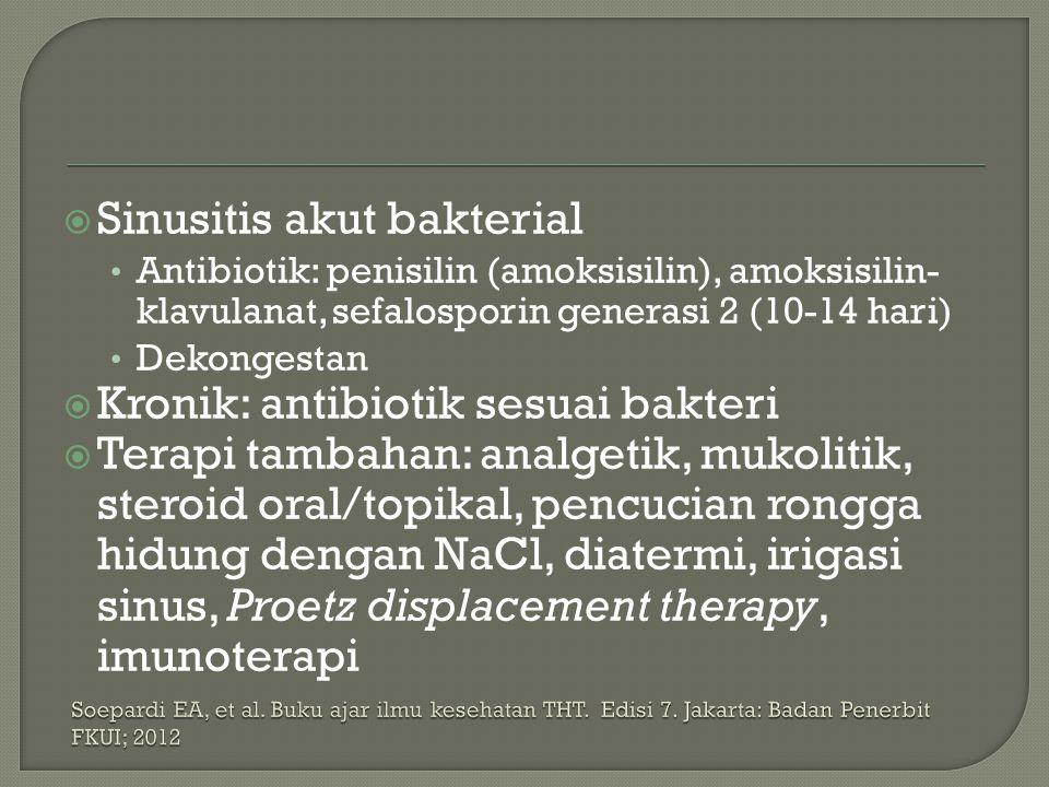  Sinusitis akut bakterial Antibiotik: penisilin (amoksisilin), amoksisilin- klavulanat, sefalosporin generasi 2 (10-14 hari) Dekongestan  Kronik: an