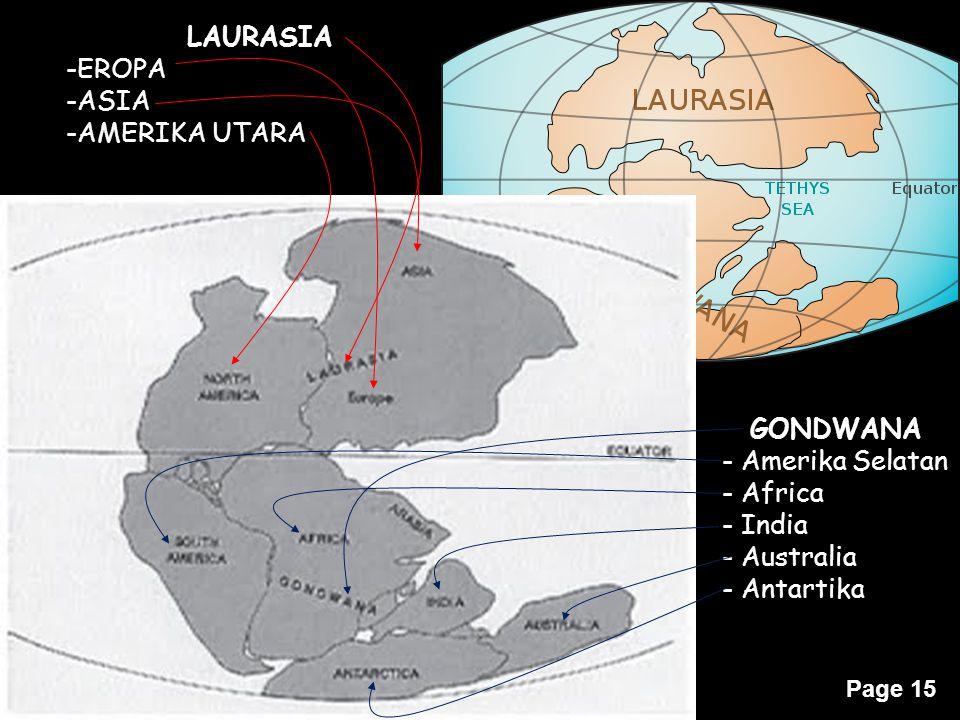 Page 15 LAURASIA -EROPA -ASIA -AMERIKA UTARA GONDWANA - Amerika Selatan - Africa - India - Australia - Antartika