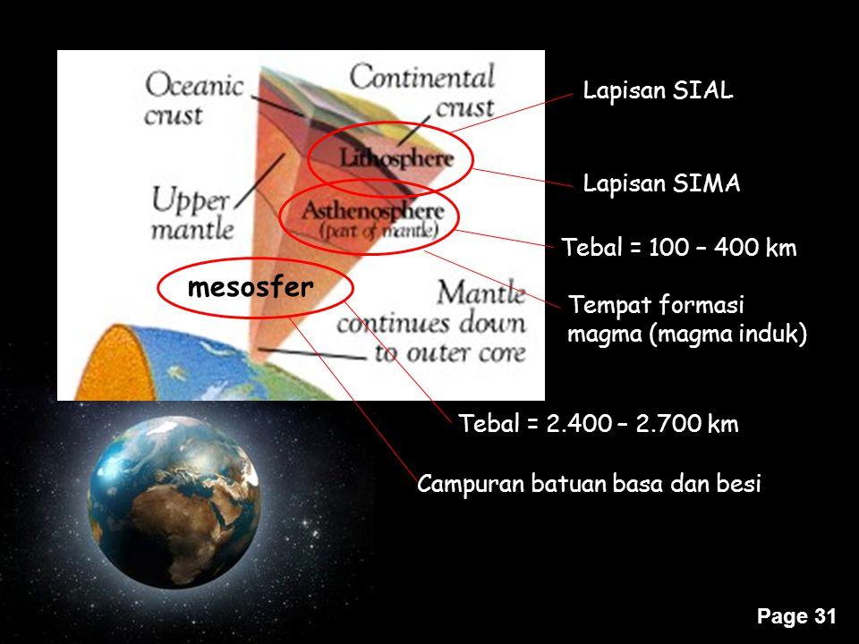 Page 31 mesosfer Lapisan SIAL Lapisan SIMA Tebal = 100 – 400 km Tempat formasi magma (magma induk) Tebal = 2.400 – 2.700 km Campuran batuan basa dan b