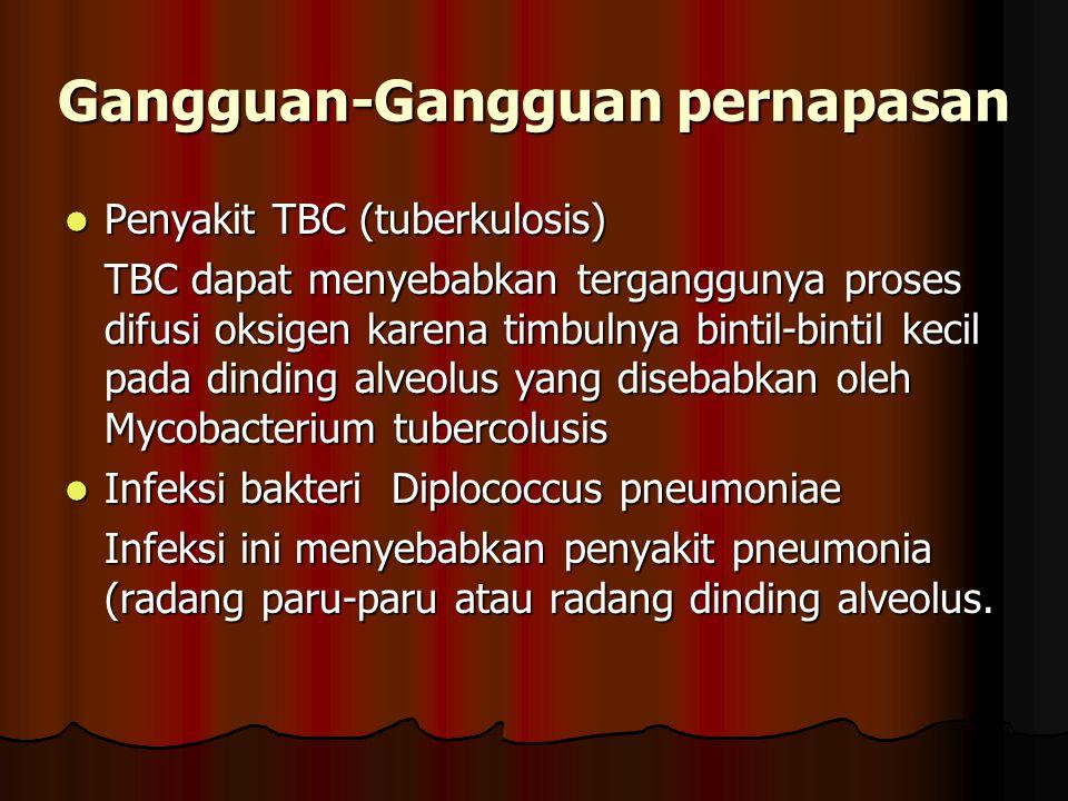 Penyakit TBC (tuberkulosis) Penyakit TBC (tuberkulosis) TBC dapat menyebabkan terganggunya proses difusi oksigen karena timbulnya bintil-bintil kecil