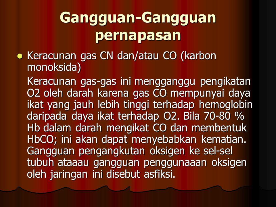 Keracunan gas CN dan/atau CO (karbon monoksida) Keracunan gas CN dan/atau CO (karbon monoksida) Keracunan gas-gas ini mengganggu pengikatan O2 oleh da