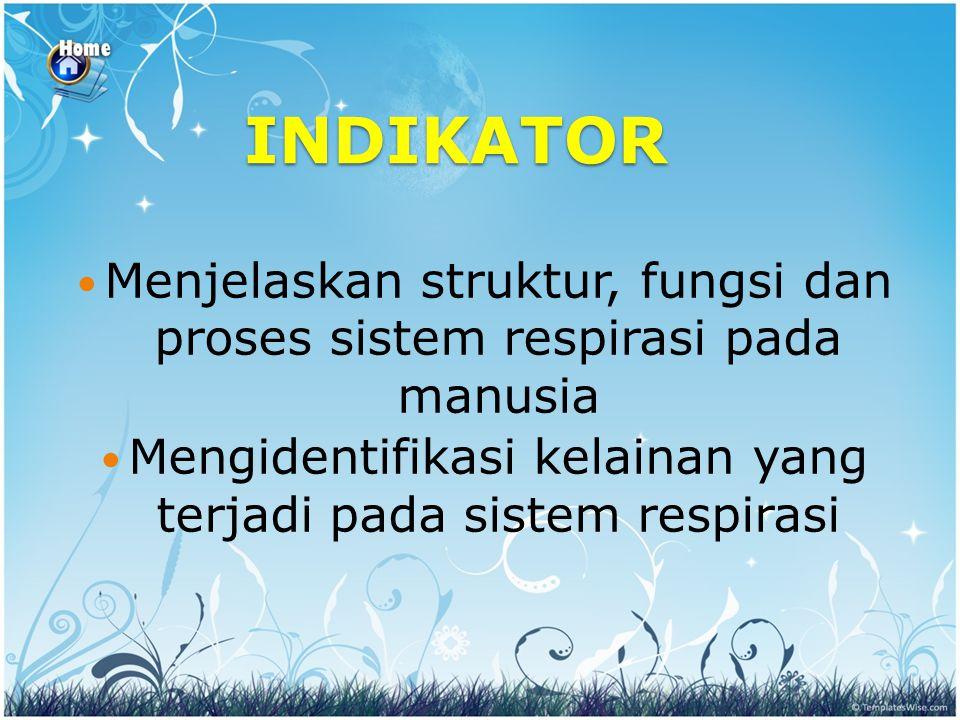INDIKATOR Menjelaskan struktur, fungsi dan proses sistem respirasi pada manusia Mengidentifikasi kelainan yang terjadi pada sistem respirasi