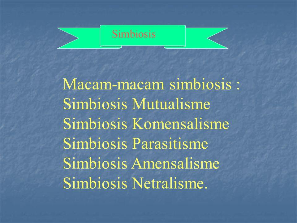 Simbiosis Macam-macam simbiosis : Simbiosis Mutualisme Simbiosis Komensalisme Simbiosis Parasitisme Simbiosis Amensalisme Simbiosis Netralisme.