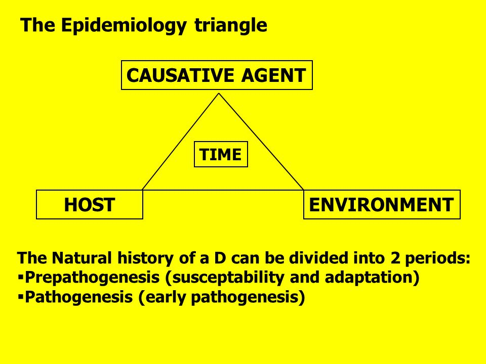 The Epidemiology triangle CAUSATIVE AGENT TIME HOSTENVIRONMENT The Natural history of a D can be divided into 2 periods:  Prepathogenesis (susceptabi