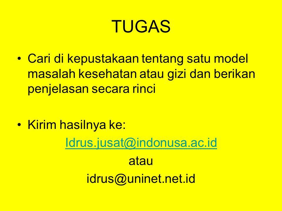 TUGAS Cari di kepustakaan tentang satu model masalah kesehatan atau gizi dan berikan penjelasan secara rinci Kirim hasilnya ke: Idrus.jusat@indonusa.ac.id atau idrus@uninet.net.id