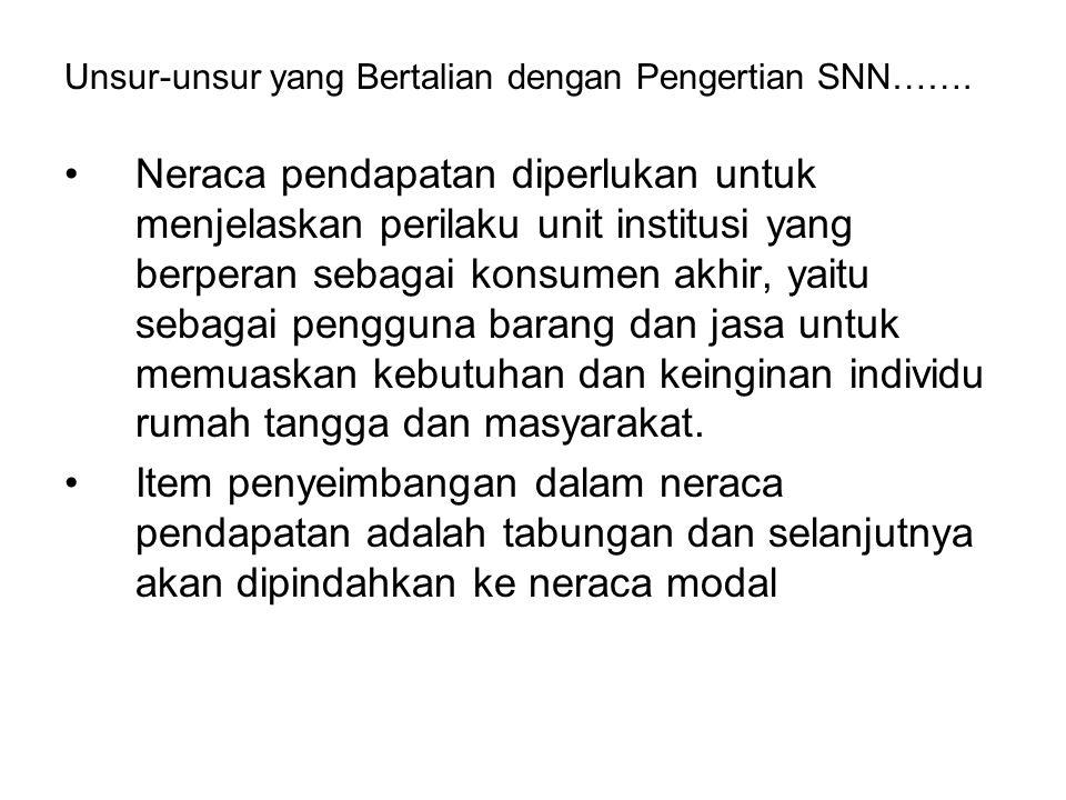 Unsur-unsur yang Bertalian dengan Pengertian SNN……. Neraca pendapatan diperlukan untuk menjelaskan perilaku unit institusi yang berperan sebagai konsu