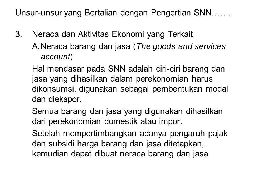 Unsur-unsur yang Bertalian dengan Pengertian SNN……. 3.Neraca dan Aktivitas Ekonomi yang Terkait A.Neraca barang dan jasa (The goods and services accou