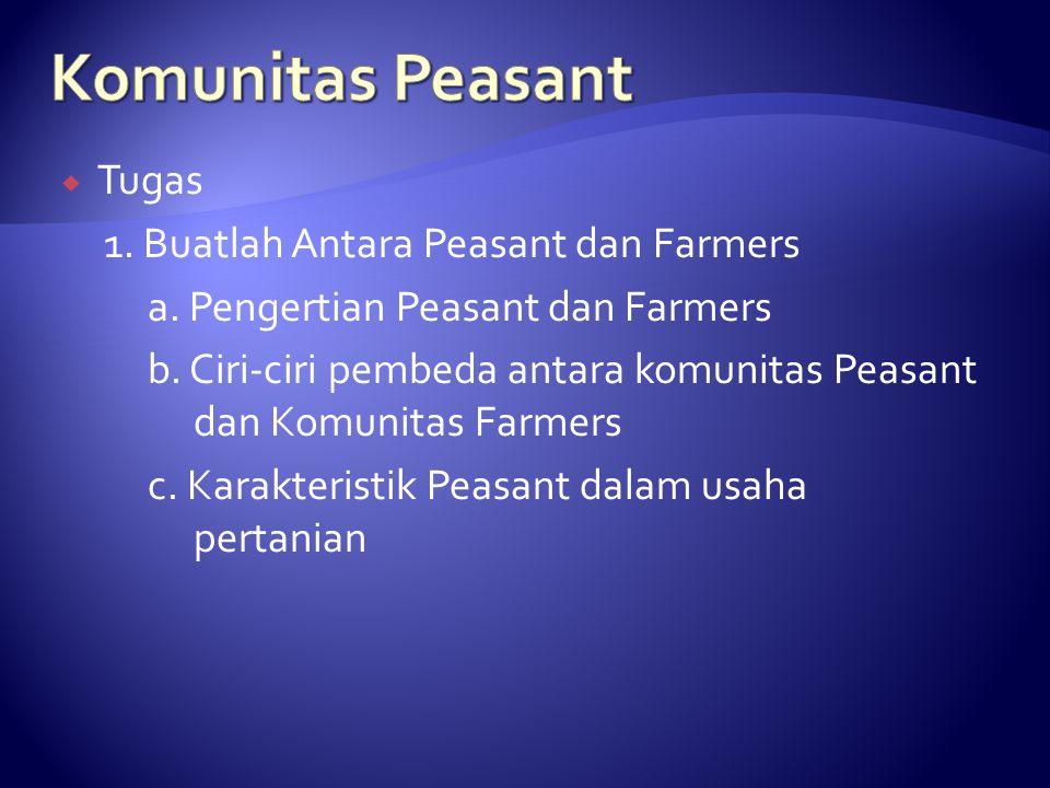  Tugas 1. Buatlah Antara Peasant dan Farmers a. Pengertian Peasant dan Farmers b. Ciri-ciri pembeda antara komunitas Peasant dan Komunitas Farmers c.