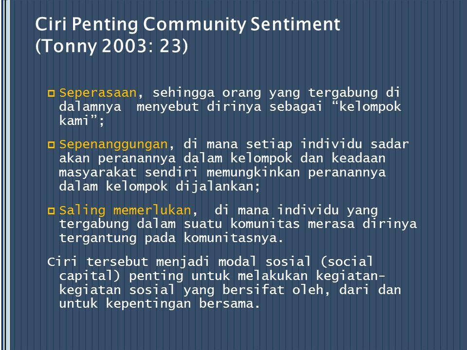 """Ciri Penting Community Sentiment (Tonny 2003: 23)  Seperasaan, sehingga orang yang tergabung di dalamnya menyebut dirinya sebagai """"kelompok kami""""; """