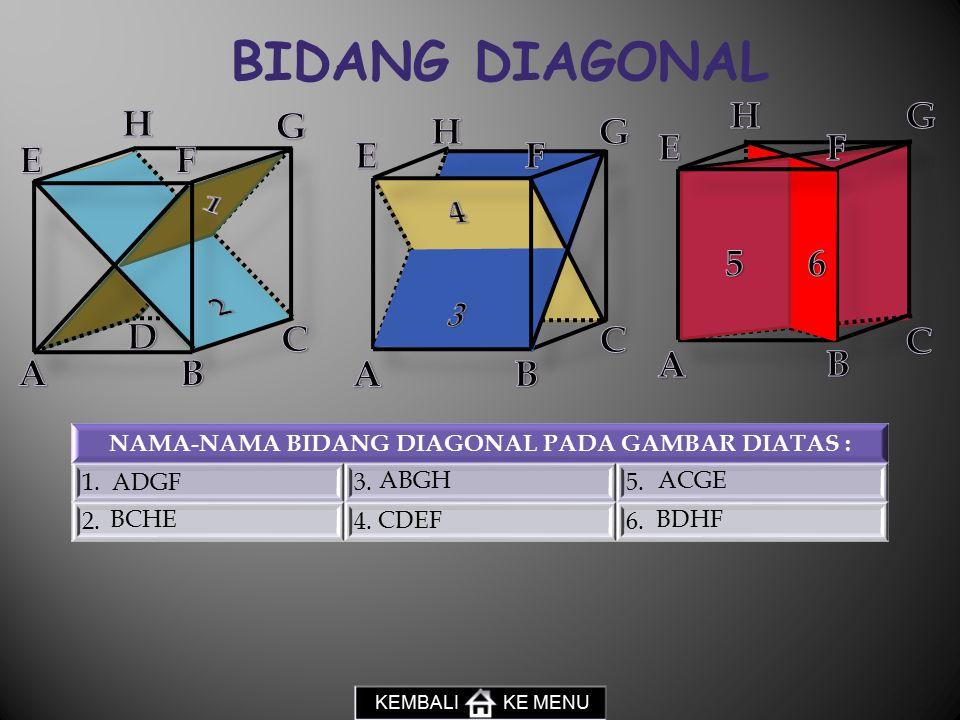 BIDANG DIAGONAL NAMA-NAMA BIDANG DIAGONAL PADA GAMBAR DIATAS : 1.