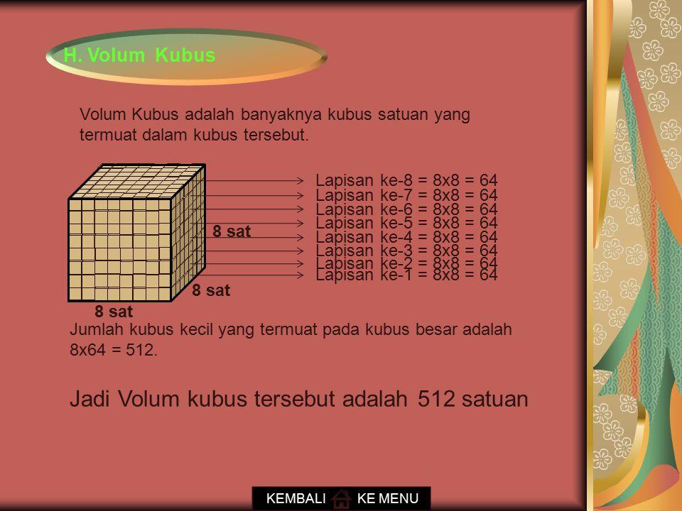 H. Volum Kubus Lapisan ke-1 = 8x8 = 64 Lapisan ke-2 = 8x8 = 64 Lapisan ke-3 = 8x8 = 64 Lapisan ke-4 = 8x8 = 64 Lapisan ke-5 = 8x8 = 64 Lapisan ke-6 =