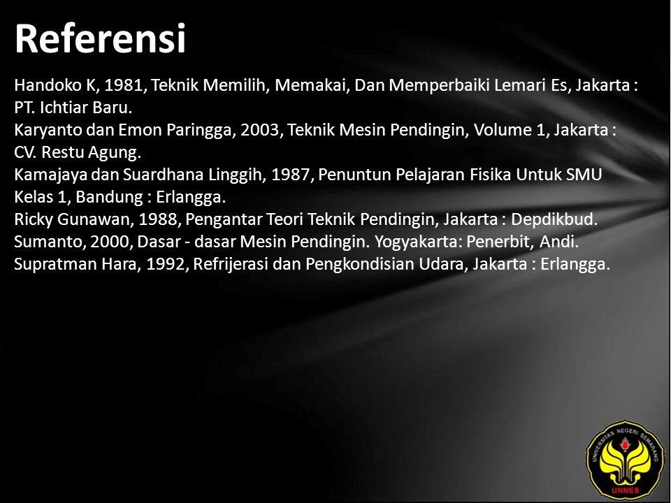 Referensi Handoko K, 1981, Teknik Memilih, Memakai, Dan Memperbaiki Lemari Es, Jakarta : PT.