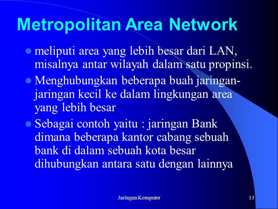 Jaringan Komputer13 meliputi area yang lebih besar dari LAN, misalnya antar wilayah dalam satu propinsi. Menghubungkan beberapa buah jaringan- jaringa