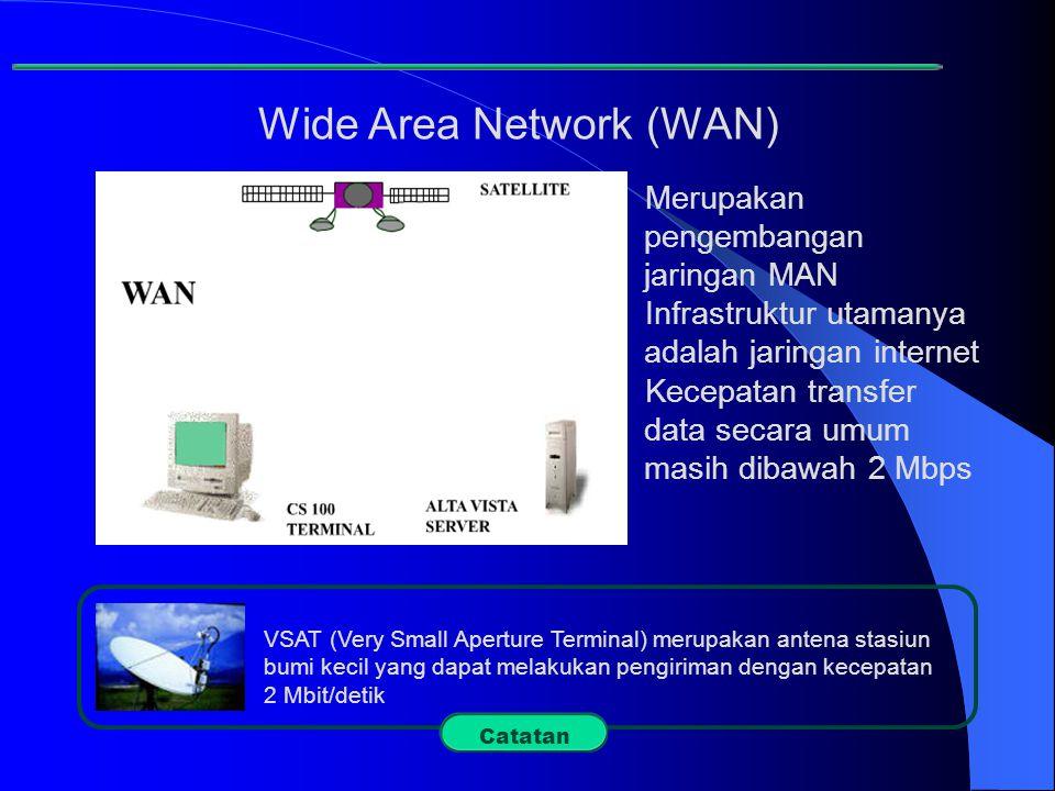 Wide Area Network (WAN) VSAT (Very Small Aperture Terminal) merupakan antena stasiun bumi kecil yang dapat melakukan pengiriman dengan kecepatan 2 Mbi