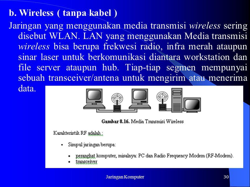 Jaringan Komputer30 b. Wireless ( tanpa kabel ) Jaringan yang menggunakan media transmisi wireless sering disebut WLAN. LAN yang menggunakan Media tra