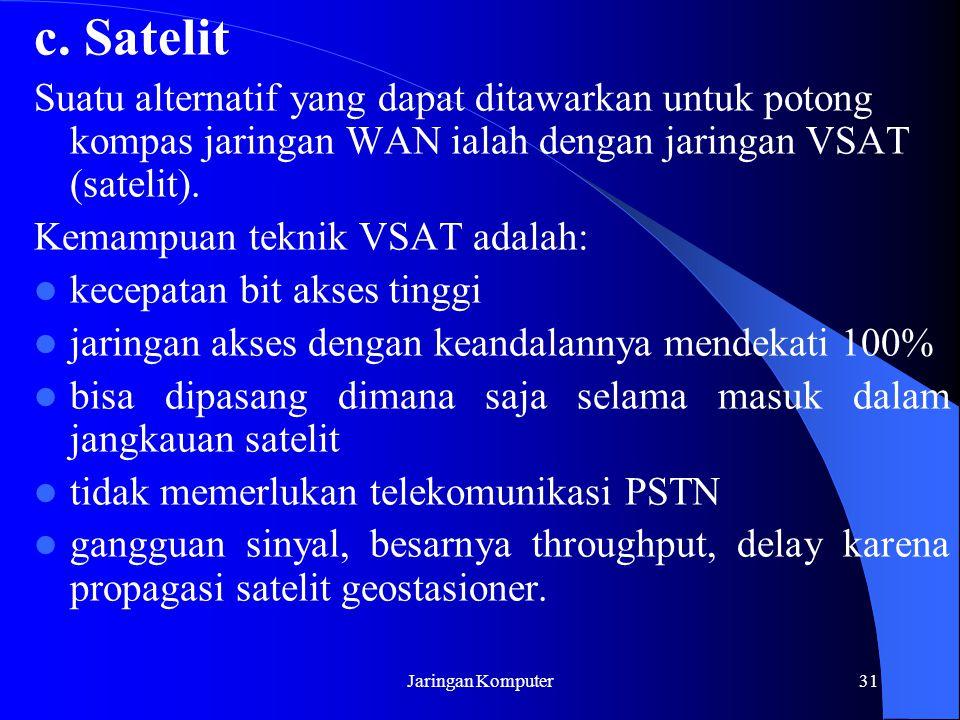 Jaringan Komputer31 c. Satelit Suatu alternatif yang dapat ditawarkan untuk potong kompas jaringan WAN ialah dengan jaringan VSAT (satelit). Kemampuan