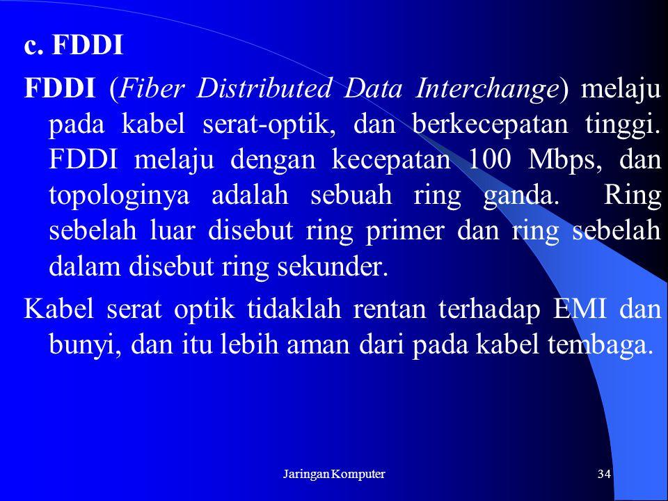 Jaringan Komputer34 c. FDDI FDDI (Fiber Distributed Data Interchange) melaju pada kabel serat-optik, dan berkecepatan tinggi. FDDI melaju dengan kecep