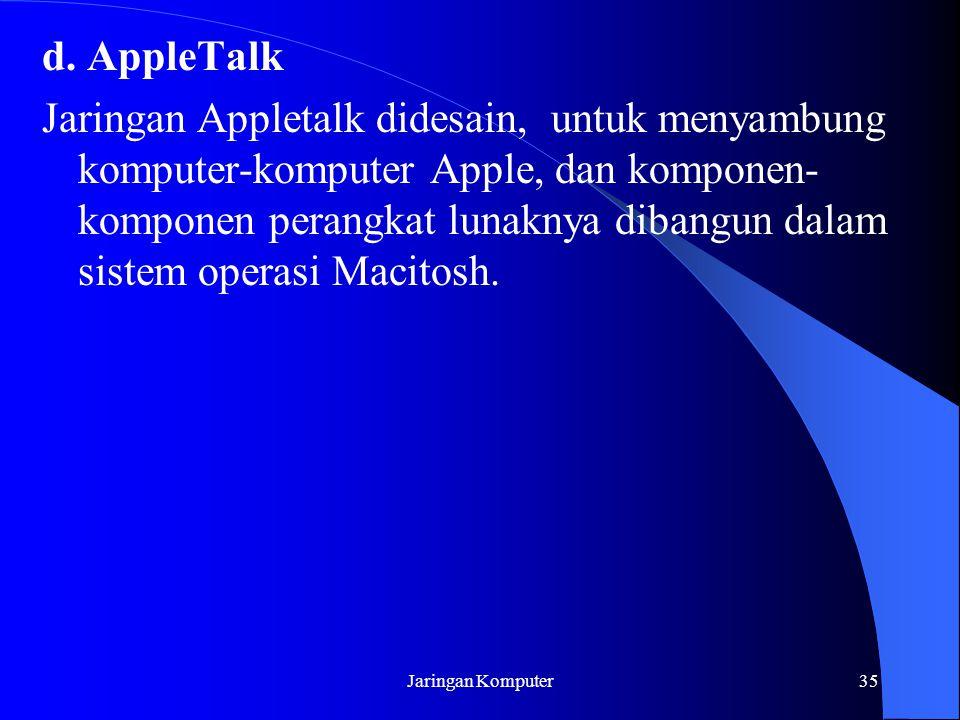 Jaringan Komputer35 d. AppleTalk Jaringan Appletalk didesain, untuk menyambung komputer-komputer Apple, dan komponen- komponen perangkat lunaknya diba