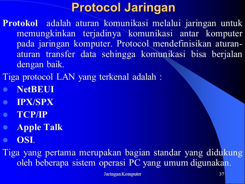 Jaringan Komputer37 Protocol Jaringan Protokol adalah aturan komunikasi melalui jaringan untuk memungkinkan terjadinya komunikasi antar komputer pada