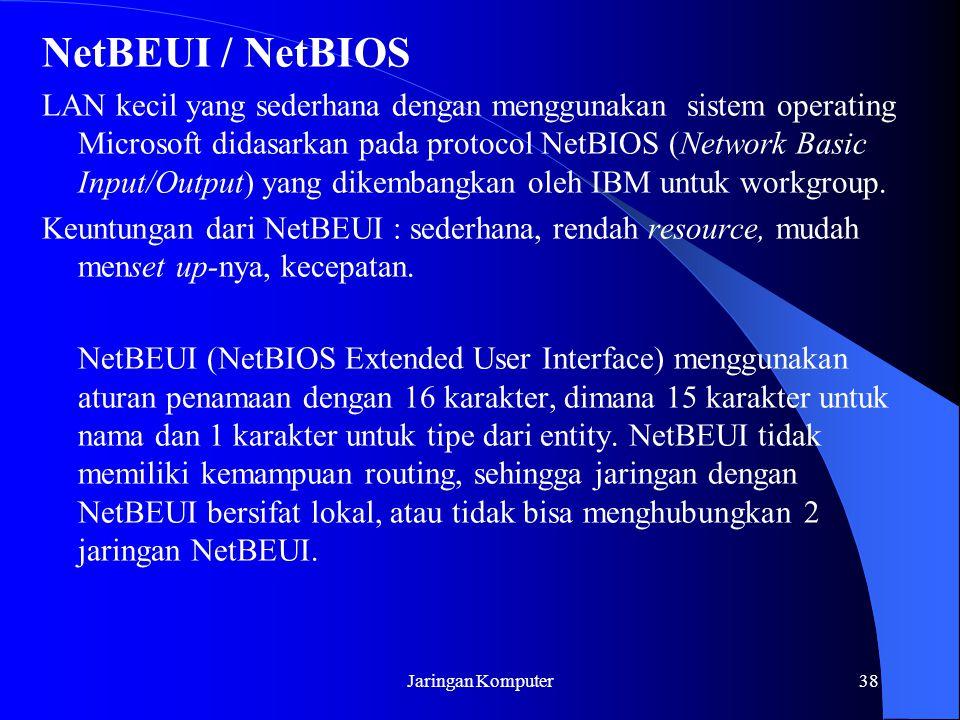 Jaringan Komputer38 NetBEUI / NetBIOS LAN kecil yang sederhana dengan menggunakan sistem operating Microsoft didasarkan pada protocol NetBIOS (Network