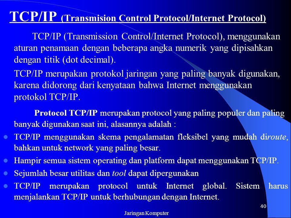 Jaringan Komputer 40 TCP/IP (Transmision Control Protocol/Internet Protocol) TCP/IP (Transmission Control/Internet Protocol), menggunakan aturan penam