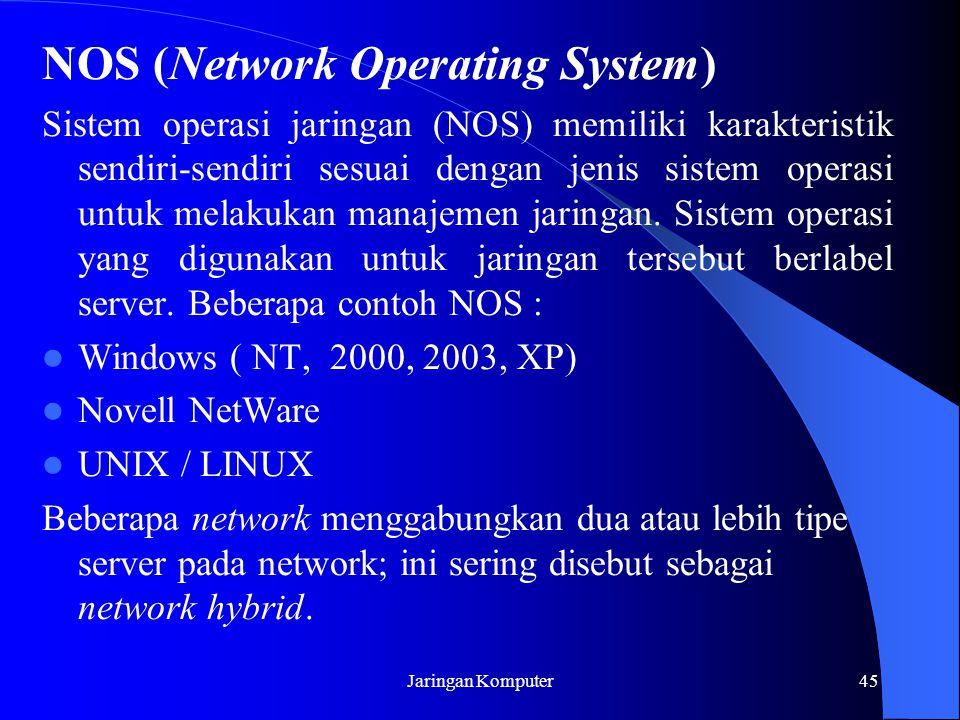 Jaringan Komputer45 NOS (Network Operating System) Sistem operasi jaringan (NOS) memiliki karakteristik sendiri-sendiri sesuai dengan jenis sistem ope