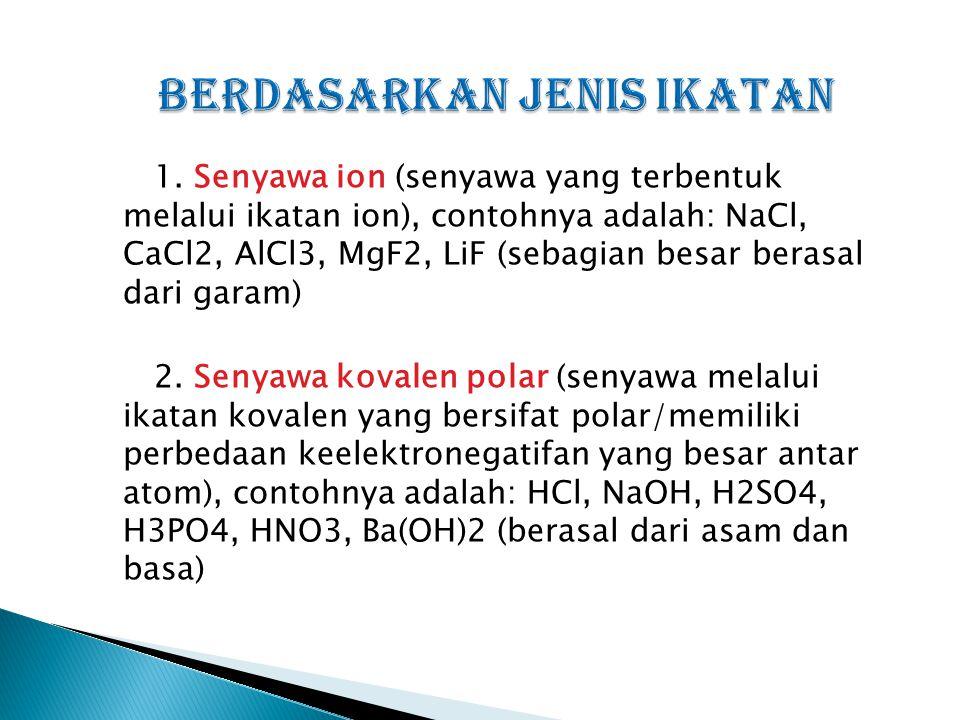 1. Senyawa ion (senyawa yang terbentuk melalui ikatan ion), contohnya adalah: NaCl, CaCl2, AlCl3, MgF2, LiF (sebagian besar berasal dari garam) 2. Sen