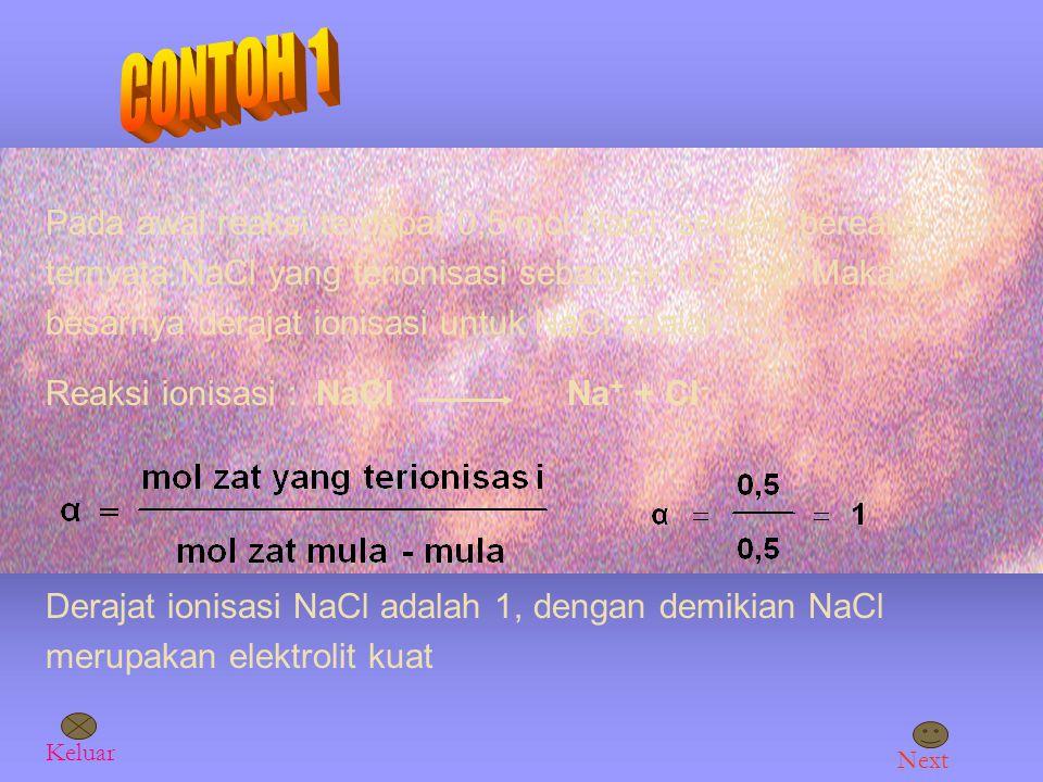 Perbedaan zat elektrolit kuat, elektrolit lemah dan nonelektrolit dinyatakan dengan derajat ionisasi (α) dirumuskan Elektrolit kuat (α) = 1 Elektrolit