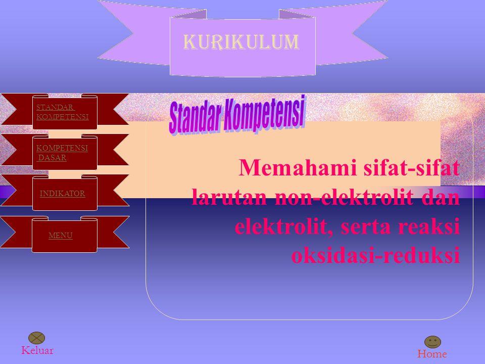 KURIKULUM STANDAR KOMPETENSI DASAR INDIKATOR MENU Memahami sifat-sifat larutan non-elektrolit dan elektrolit, serta reaksi oksidasi-reduksi Keluar Home