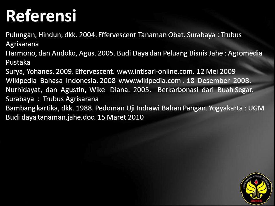 Referensi Pulungan, Hindun, dkk. 2004. Effervescent Tanaman Obat. Surabaya : Trubus Agrisarana Harmono, dan Andoko, Agus. 2005. Budi Daya dan Peluang