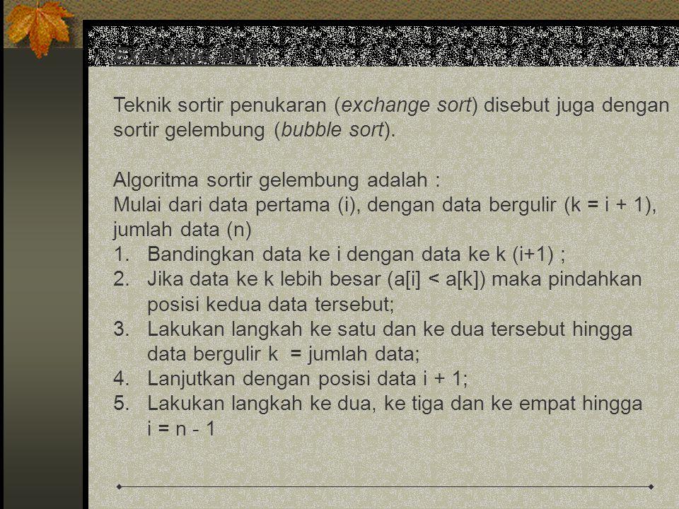 Exchange Sort Teknik sortir penukaran (exchange sort) disebut juga dengan sortir gelembung (bubble sort). Algoritma sortir gelembung adalah : Mulai da
