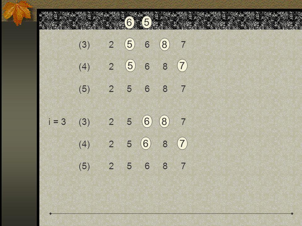 i = 2(2)2 6 5 8 7 (3)2 6 6 8 7 (4)2 6 6 8 7 (5)2 5 6 8 7 i = 3(3)2 5 6 8 7 (4)2 5 6 8 7 (5)2 5 6 8 7 6 5 5 8 57 6 8 67