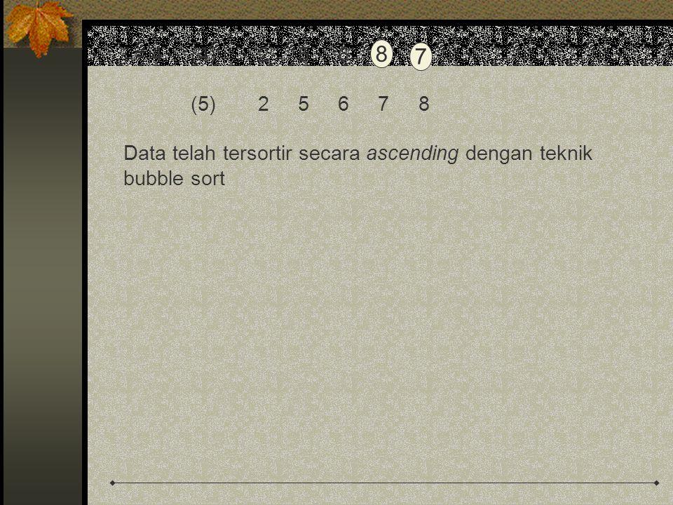 i = 4(4)2 5 6 8 7 (5)2 5 6 7 8 Data telah tersortir secara ascending dengan teknik bubble sort 8 7