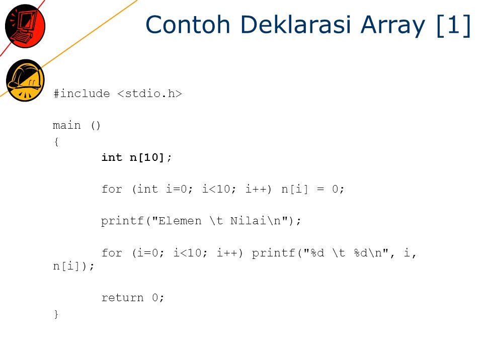 Contoh Deklarasi Array [1] #include main () { int n[10]; for (int i=0; i<10; i++) n[i] = 0; printf( Elemen \t Nilai\n ); for (i=0; i<10; i++) printf( %d \t %d\n , i, n[i]); return 0; }