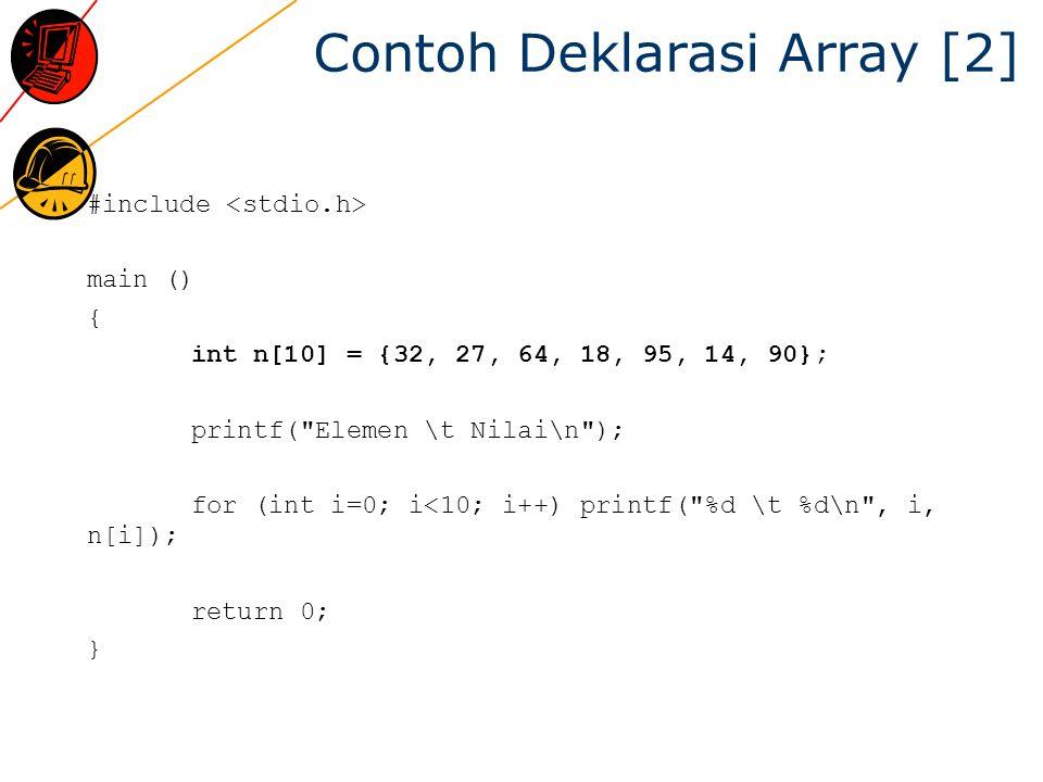 Contoh Deklarasi Array [2] #include main () { int n[10] = {32, 27, 64, 18, 95, 14, 90}; printf( Elemen \t Nilai\n ); for (int i=0; i<10; i++) printf( %d \t %d\n , i, n[i]); return 0; }