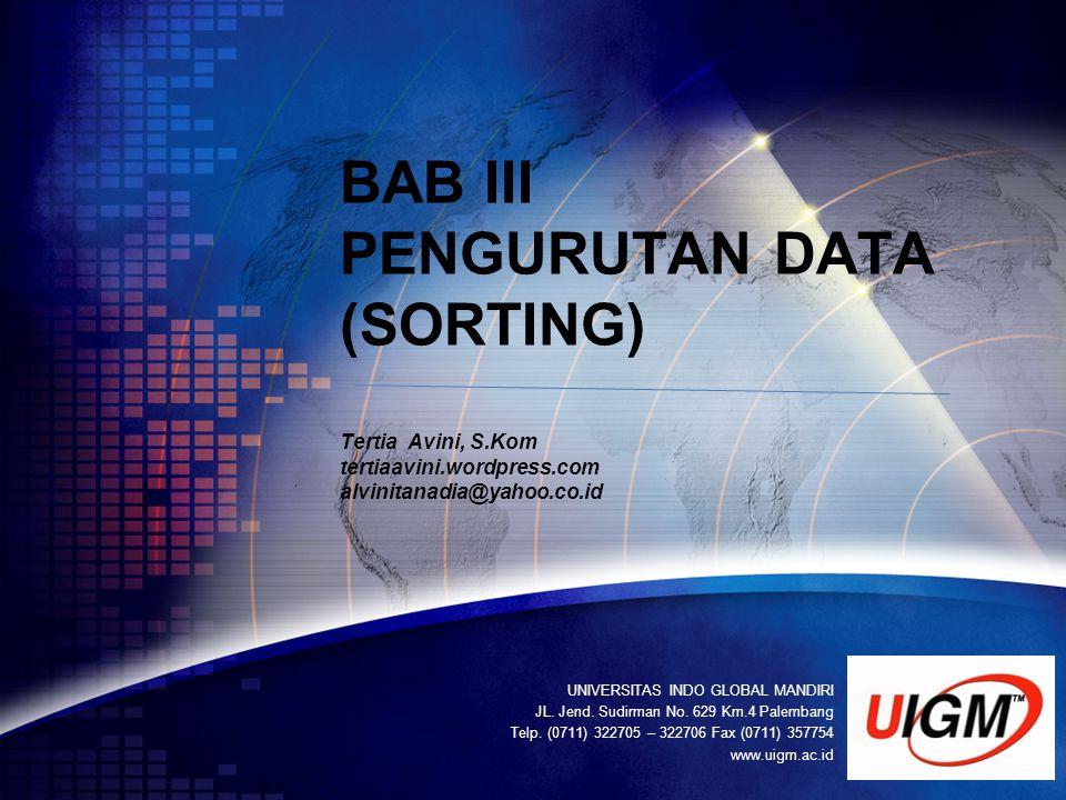 LOGO UNIVERSITAS INDO GLOBAL MANDIRI JL. Jend. Sudirman No. 629 Km.4 Palembang Telp. (0711) 322705 – 322706 Fax (0711) 357754 www.uigm.ac.id BAB III P