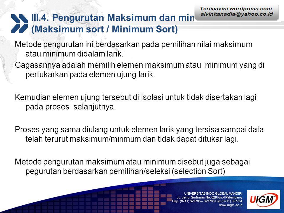 Add your company slogan LOGO III.4. Pengurutan Maksimum dan minimum (Maksimum sort / Minimum Sort) Metode pengurutan ini berdasarkan pada pemilihan ni