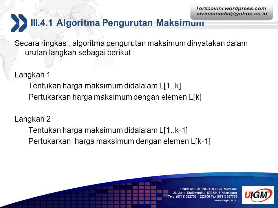 Add your company slogan LOGO III.4.1 Algoritma Pengurutan Maksimum Secara ringkas, algoritma pengurutan maksimum dinyatakan dalam urutan langkah sebag